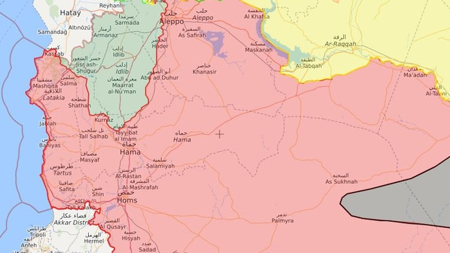 The Idlib province to Syria's northwest has been taken over by al-Qaeda-affiliated group, HTS (in green). ISIS territory is marked in marked in black. Picture: Syria Live Map