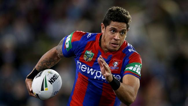 Dane Gagai of the Knights runs the ball.
