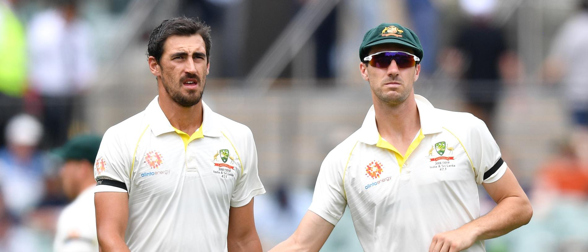 Mitchell Starc and Patrick Cummins of Australia during day four of the first Test match between Australia and India at the Adelaide Oval in Adelaide, Sunday, December 9, 2018. (AAP Image/David Mariuz) NO ARCHIVING, EDITORIAL USE ONLY, IMAGES TO BE USED FOR NEWS REPORTING PURPOSES ONLY, NO COMMERCIAL USE WHATSOEVER, NO USE IN BOOKS WITHOUT PRIOR WRITTEN CONSENT FROM AAP