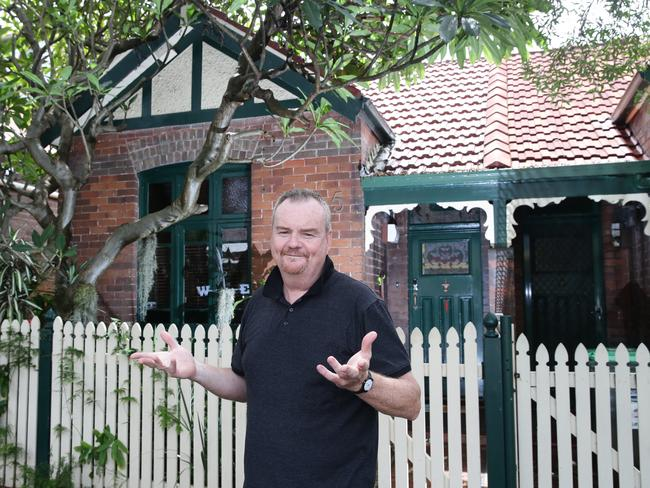 Richard Moras twice had to complain to WestConnex officials that his house is not slated for demolition after workers turned off power, phone/internet lines, and put security fencing around it. Picture: Craig Wilson