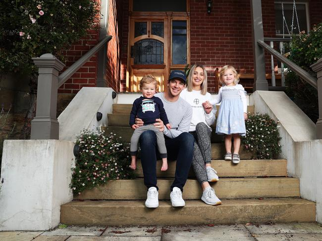 Tim Paine at his South Hobart home with wife Bonnie and kids Charlie and Milla. Picture: NIKKI DAVIS-JONES.