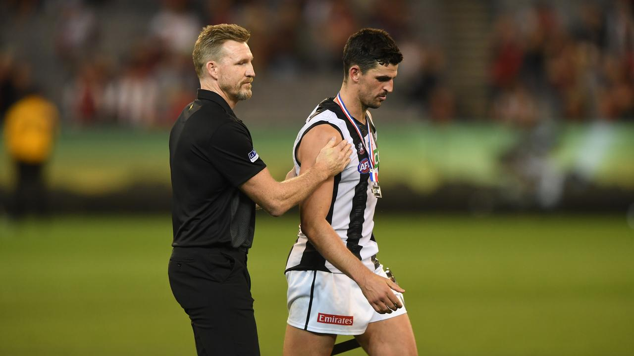 Nathan Buckley and Scott Pendlebury after this year's Anzac Day game.