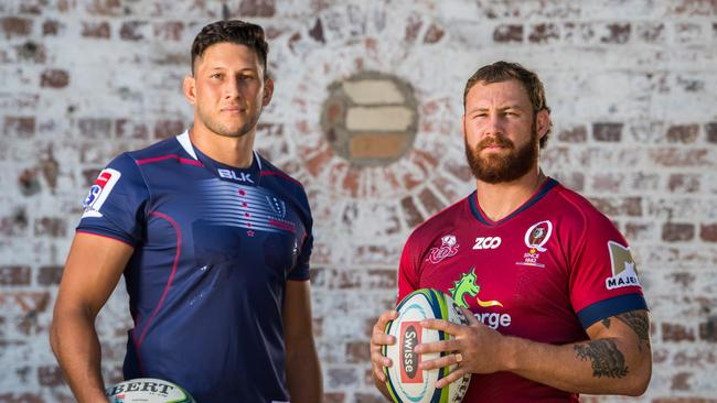 Adam Coleman and Scott Higginbotham will collide on Friday night. Picture: RUGBY.com.au/Stuart Walmsley