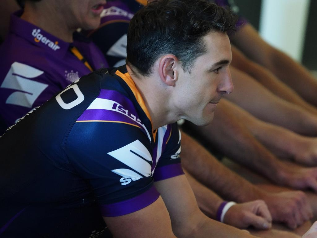 Melbourne Storm player Billy Slater prepares for a team photograph during a media session at AAMI Park in Melbourne, Monday, September 24, 2018. The Melbourne Storm play the Sydney Roosters in the NRL Grand Final at ANZ Stadium on Sunday. (AAP Image/Stefan Postles) NO ARCHIVING