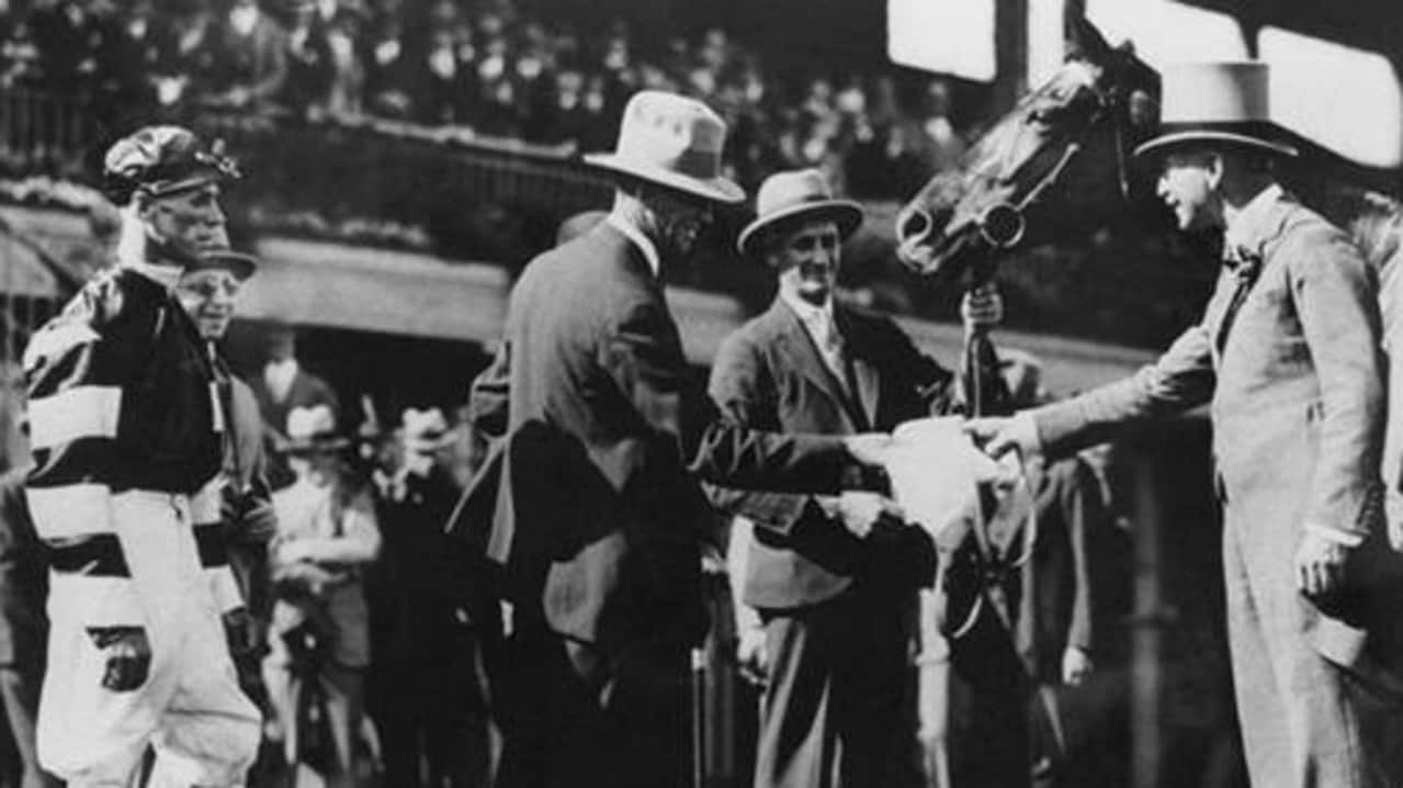 The 1929 Victoria Derby presentation to Harry Telford after Phar Lap's success. Picture: Victoria Racing Club