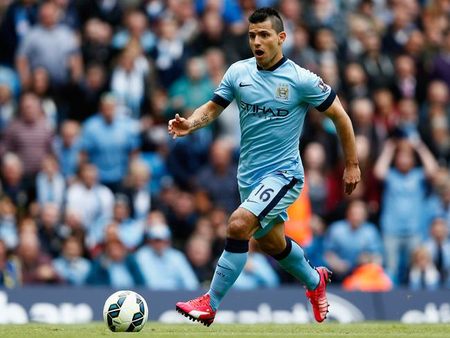 Sergio Aguero of Manchester City in action during the Barclays Premier League.