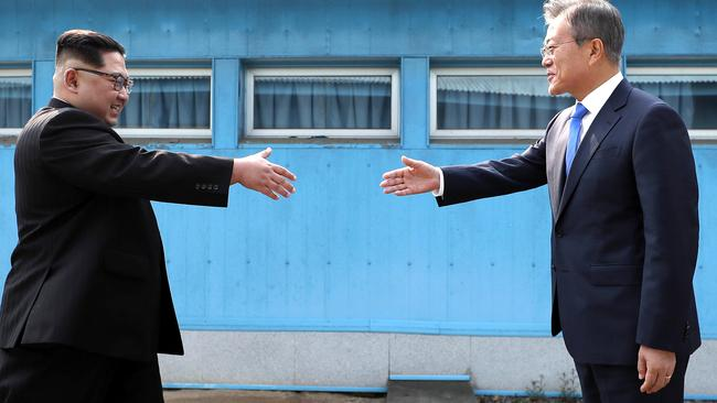 Kim Jong-un and Moon Jae-in. Picture: AP