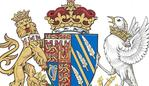 This generated image made available Friday, May 25, 2018 by Kensington Palace shows the newly created coat of arms of Meghan Duchess of Sussex. Mehgan Markle and Prince Harry married on Saturday, May 19, and are now known as The Duke and Duchess of Sussex. (Kensington Palace/PA via AP)