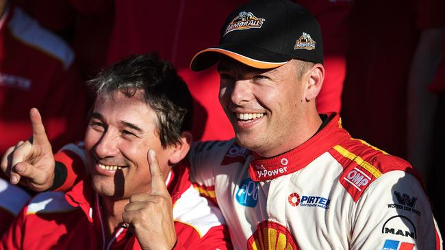 Scott McLaughlin and engineer Ludo Lacroix celebrate pole position for the Bathurst 1000.