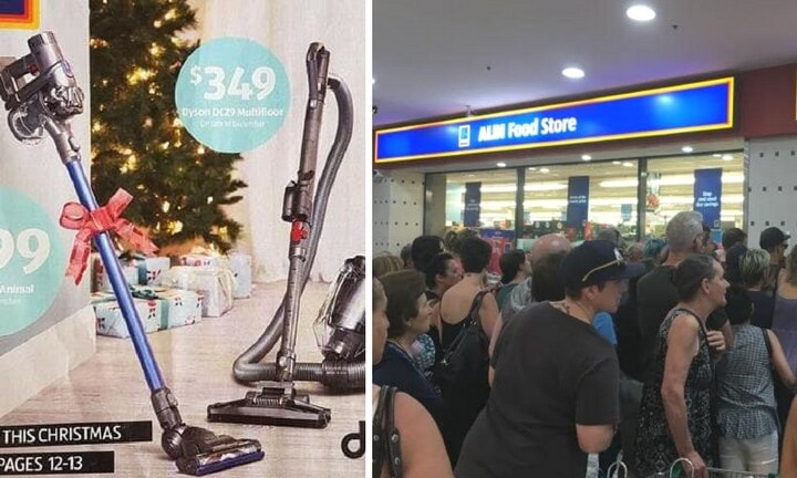 Things got wild when ALDI released Dyson vacuum cleaners last year. Images: News.com.au