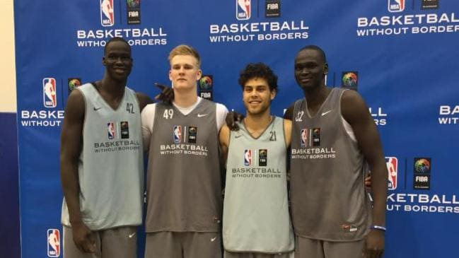 Thon Maker (left) and Harry Froling (middle left) at the 2016 BWB Camp.