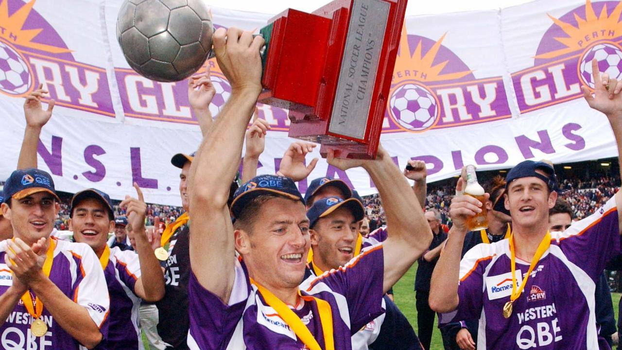 Damian Mori and his Perth Glory teammates celebrate winning the NSL Grand Final.