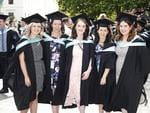 Katelyn Cramer, Sarah Ryan, Ellie Kearns, Naomi Sideris and Phoebe Shires at the UTAS Graduation at Launceston. PICTURE CHRIS KIDD