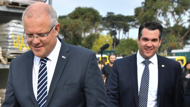 Prime Minister Scott Morrison with Liberal member for Deakin Michael Sukkar who has a battle to retain the seat. Clive Palmer's party is polling well there. Picture: AAP