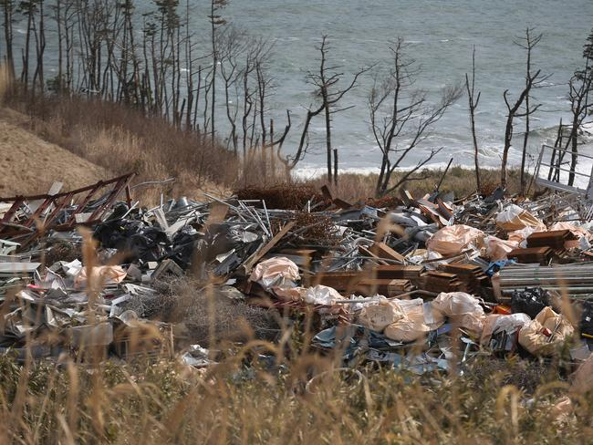Radiation contaminated debris waits to be destroyed inside the plants new incinerator building. Picture: Getty
