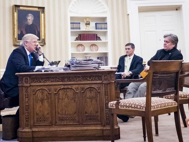 Donald Trump with former National Security Advisor Michael Flynn and Senior Counselor to the President Steve Bannon. Picture: Pete Marovich/Consolidated News Photos/