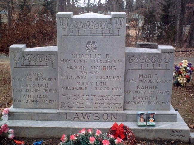 Charlie Lawson was buried in the same plot (above) as the family he massacred on December 25, 1929.