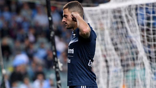 James Troisi celebrates his goal in front of Sydney FC fans.