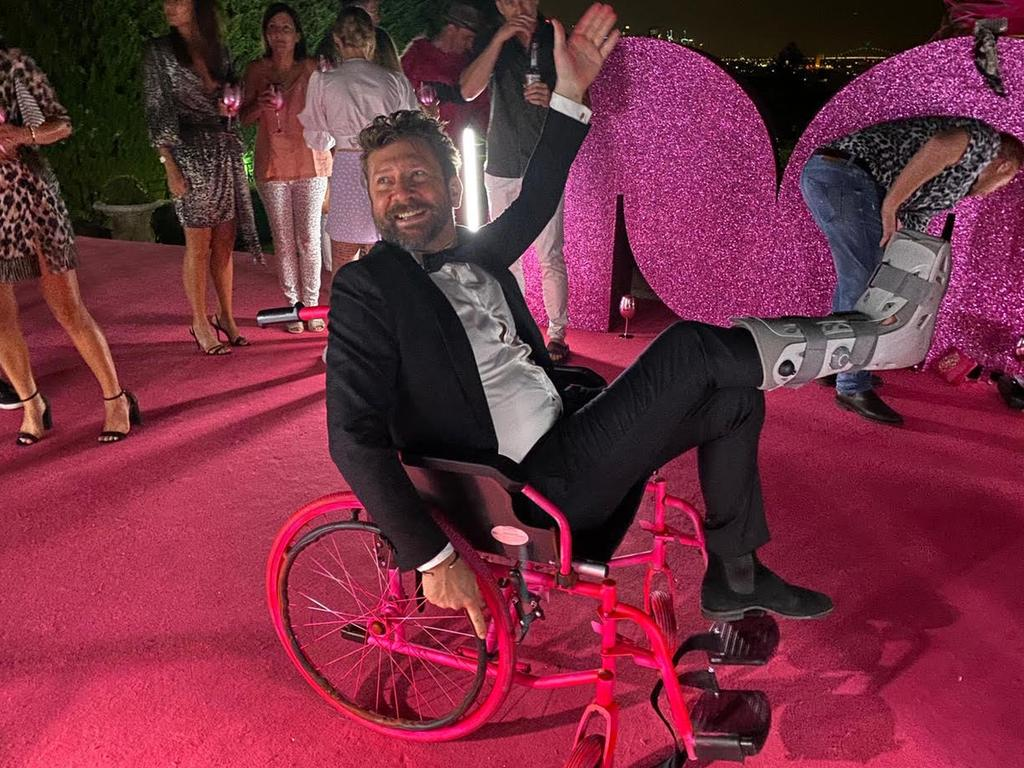 DJ Daimon Downey on his specially sprayed wheelchair. Picture: Supplied
