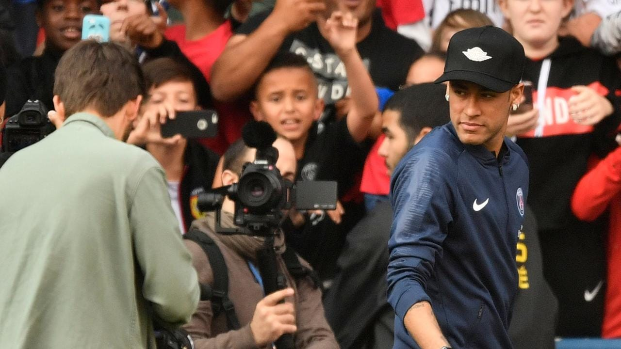 Neymar hits the training ground in Paris.