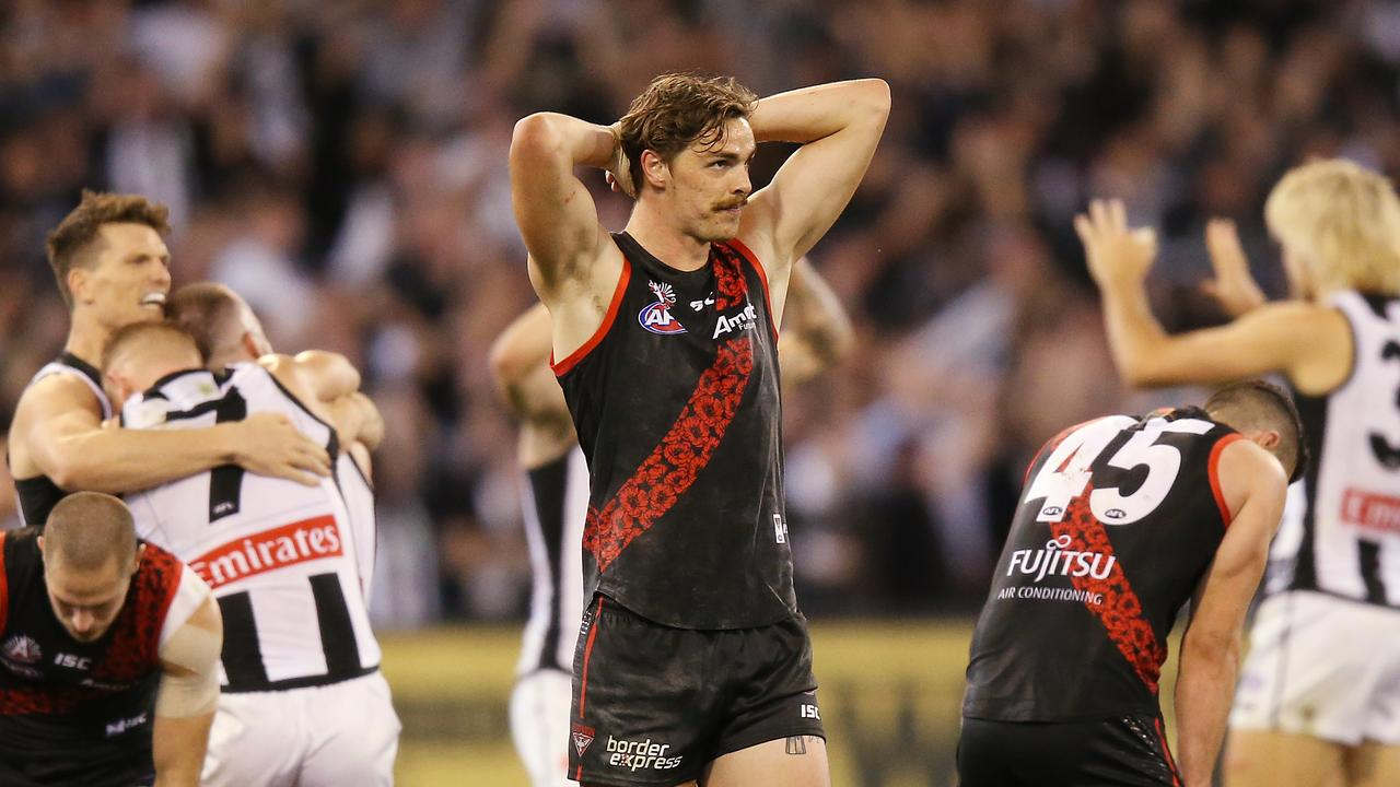 Joe Daniher looks on after the Anzac Day loss to Collingwood.