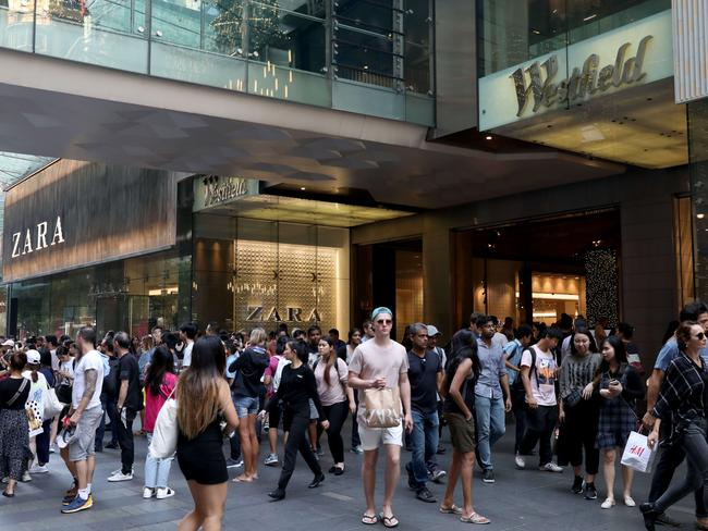 Shoppers flooded into Sydney's Pitt Street Mall to snap up the sales. Picture: Damian Shaw