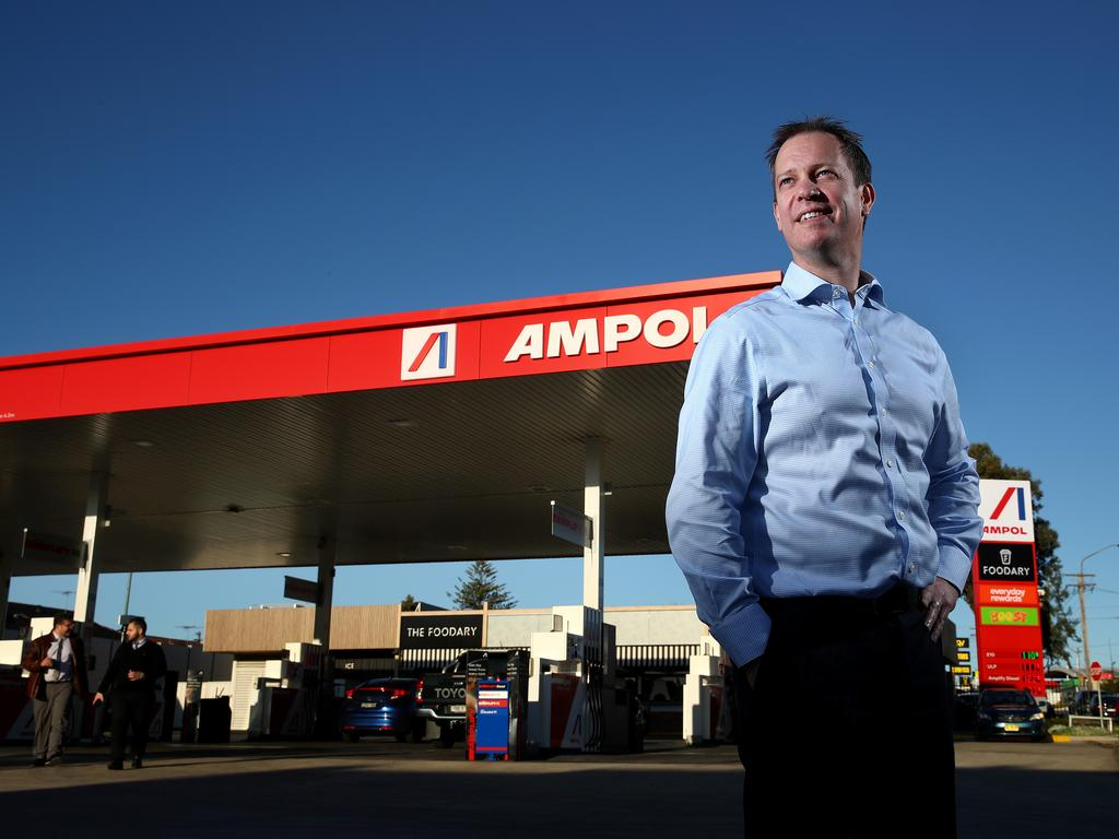 Ampol chief Matthew Halliday outside the first rebranded Ampol service station at Concord. Picture: Toby Zerna