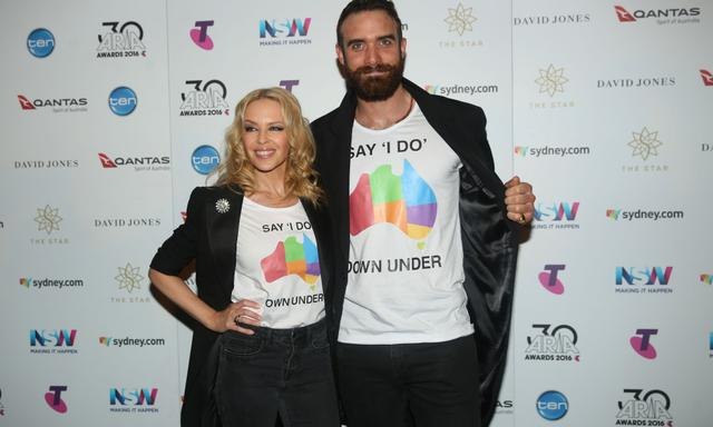 FILE - Kylie Minogue Reportedly Splits From Fiance Joshua Sasse SYDNEY, AUSTRALIA - NOVEMBER 23: Kylie Minogue and Joshua Sasse pose in the ARIA awards room during the 30th Annual ARIA Awards 2016 at The Star on November 23, 2016 in Sydney, Australia. (Photo by Cole Bennetts/Getty Images)