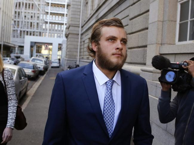 South African murder accused Henri van Breda arrives at the high court in the city of Cape Town.