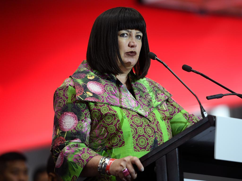 Rugby Australia CEO Raelene Castle addresses guests at the announcement of the Australian Wallabies team for the 2019 Rugby World Cup in Sydney, Friday, August 23, 2019. (AAP Image/Dan Himbrechts) NO ARCHIVING