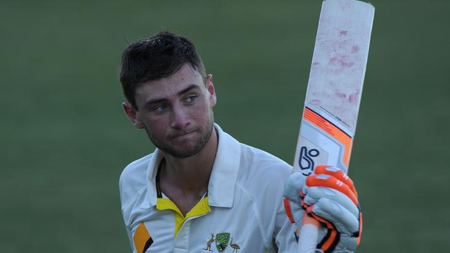 Sam Whiteman acknowledges the crowd after his brilliant 174 against India A.