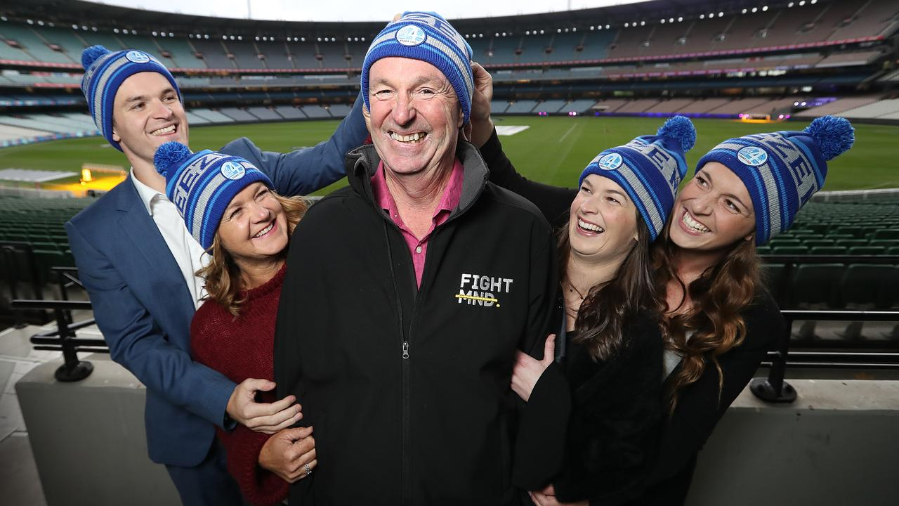 Neale Daniher at the MCG with family members Ben, Jan, Lauren and Bec. Photo: Alex Coppel