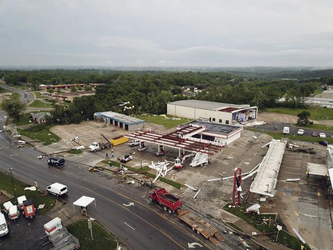 This aerial image shows severe storm damage in Jefferson City. Picture: AP