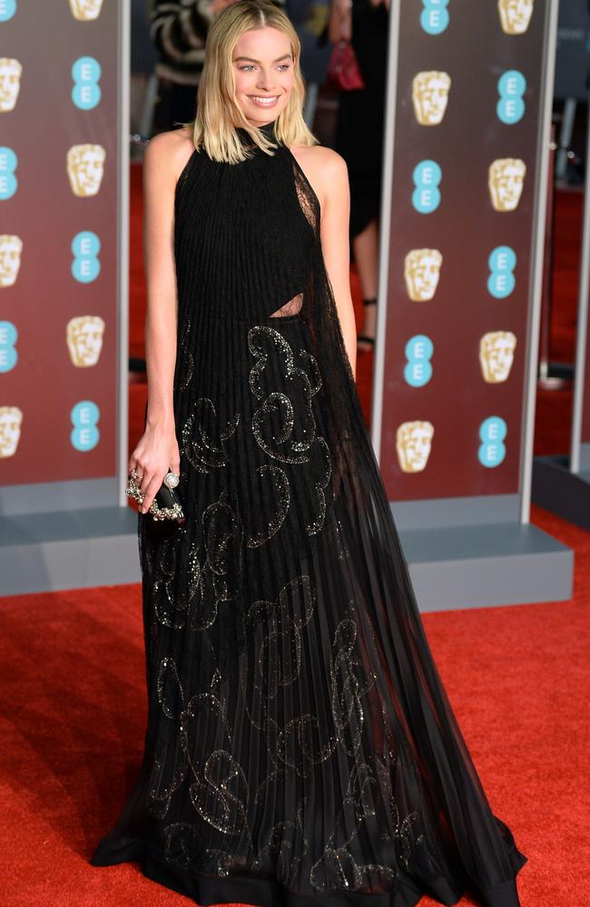 She made a statement in a black Givenchy gown at the BAFTAs. Picture: Getty Images