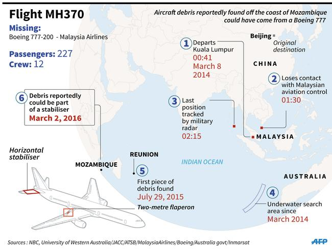A map of the spot Gibson where Gibson claims to have found the suspected plane part in the Mozambique Channel. Picture: AFP