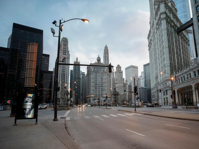 Empty Michigan Ave in Chicago, Illinois, on Saturday. Picture: Kamil Krzaczynski/AFP