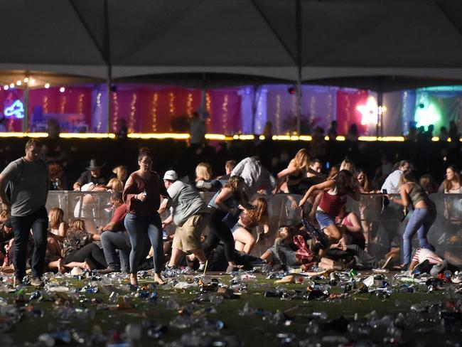 Chaos as shots rang out at the Route 91 Harvest Country Music Festival in Las Vegas. Picture: David Becker/Getty Images