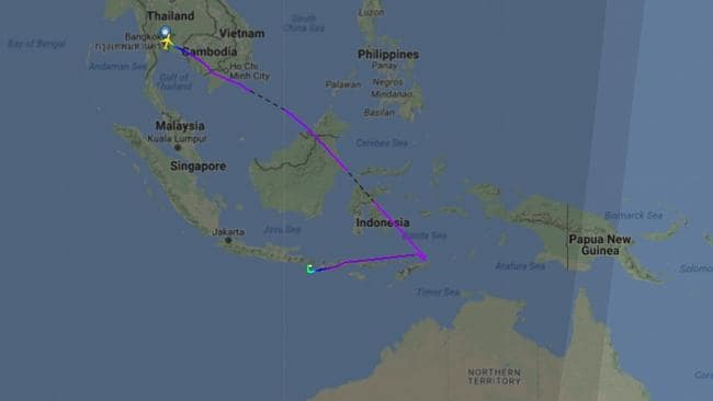 Thai Airways' flight TG 473 from Bangkok to Brisbane was diverted to Denpasar after an engine problem. Picture: Filghtradar24.com