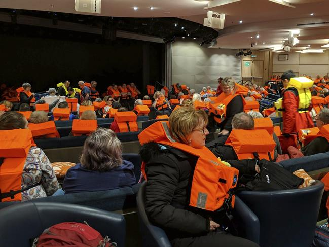 This photo provided by Michal Stewart shows passengers on board the Viking Sky, waiting to be evacuated, off the coast of Norway. Picture: via AP