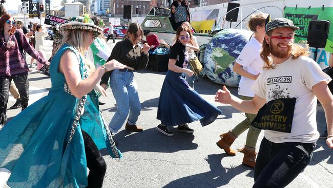 Dancers during the Extinction Rebellion protest. Picture: Liam Kidston