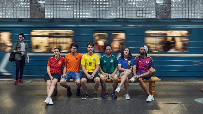 The group posed beside Moscow landmarks such as the city's famous metro system. Picture: supplied.