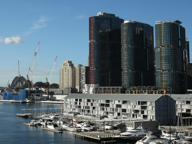 The Barangaroo development, pictured from Darling Island in Pyrmont. Picture: Tim Hunter