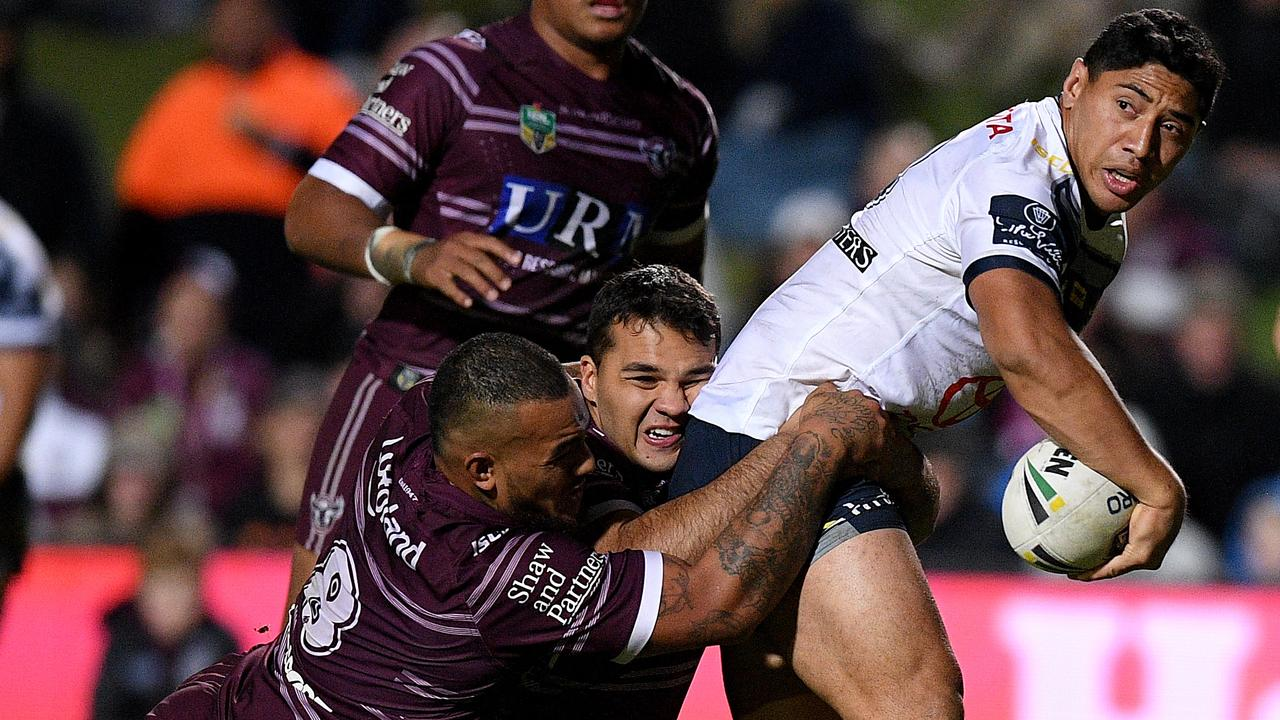 Jason Taumalolo was at his rampaging best against the Sea Eagles on Thursday night. (AAP Image/Dan Himbrechts)