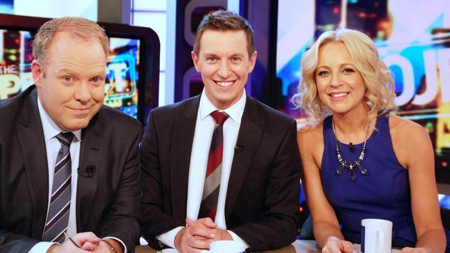 The Project co-host Carrie Bickmore with this year's desk buddies Peter Hellier and Rove McManus.