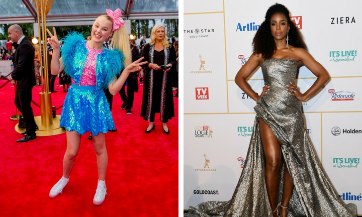 Visiting celebs JoJo (complete with a bow) and Kelly Rowlands were full of glitz and glam. Picture: AAP/Jerad Williams/Dan Pelad