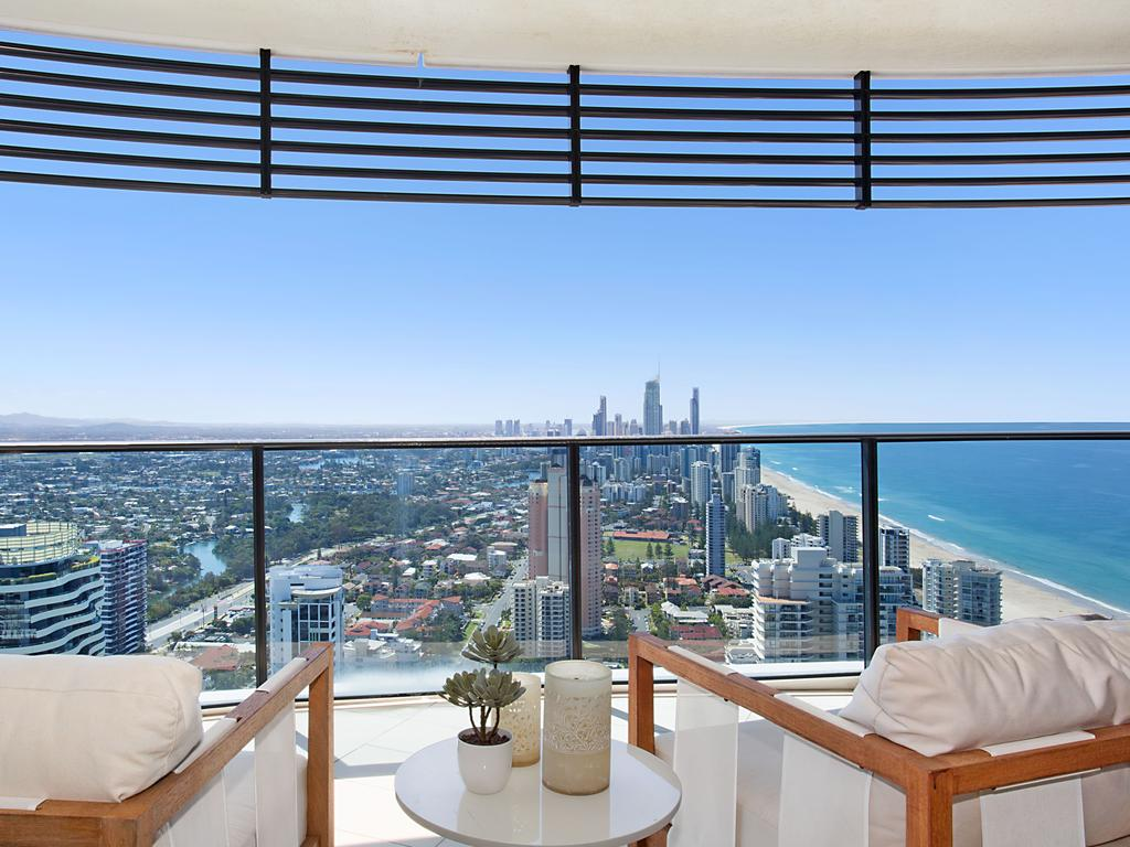 "<span class=""h2"">BROADBEACH </span>4501/1 Oracle Boulevard Broadbeach PRICE: $3.15 million SOLD: November 4, 2015 AGENT: Katrina Walsh, Harcourts Coastal As one of the largest units in Oracle's Tower One this residence is a mansion in the sky that gives a new meaning to the phrase ""room with a view"". The residence, which spans across more than 438sq m of living space, was purchased last year for $3.15 million. The property combined two family-sized apartments to create an expansive five-bedroom, five-bathroom home with floor-to-ceiling glass and a wraparound balcony to maximise the breathtaking views from level 45 of the Oracle tower."