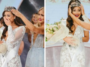 Francesca's moment of glory at the crowning ceremony last night. Images: news.com.au