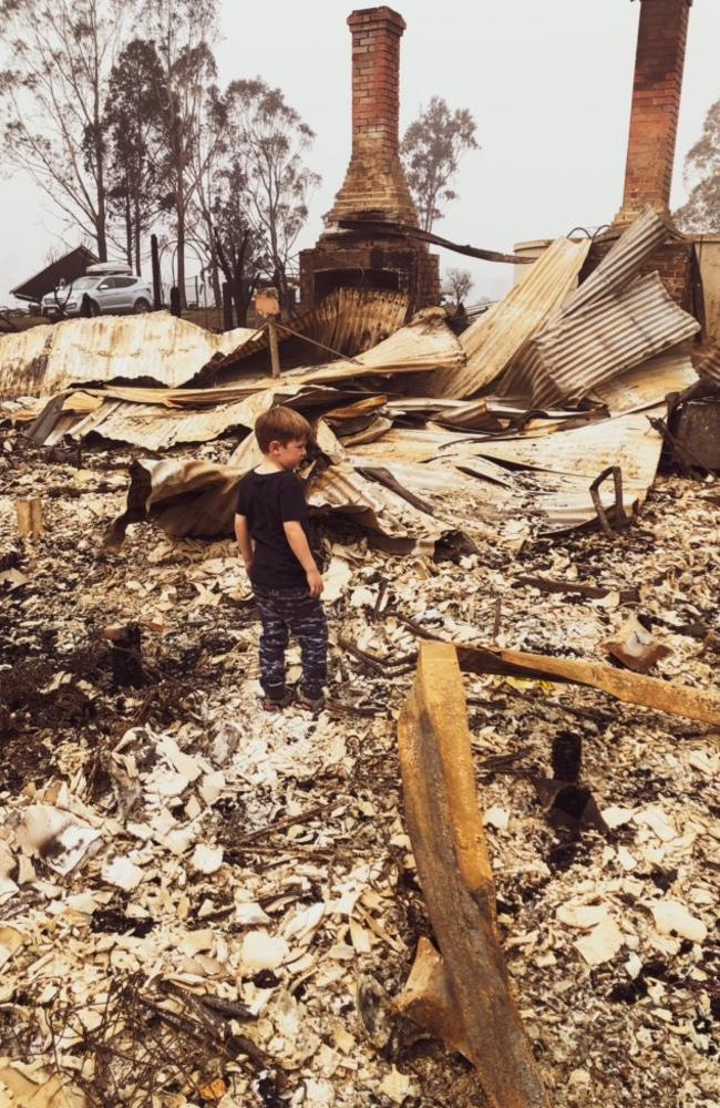 Their youngest son Jack standing in the spot which was once his bedroom. Picture: Supplied