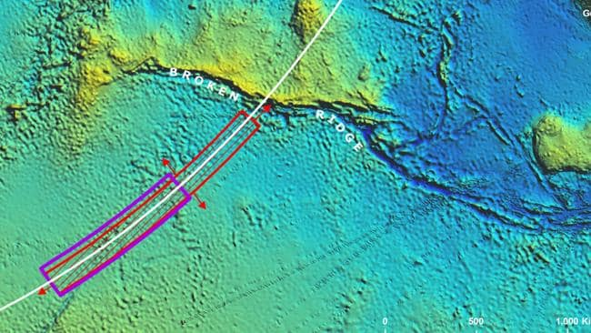 Investigation ... The priority search area is indicated in purple in the southern Indian Ocean. Picture: Supplied