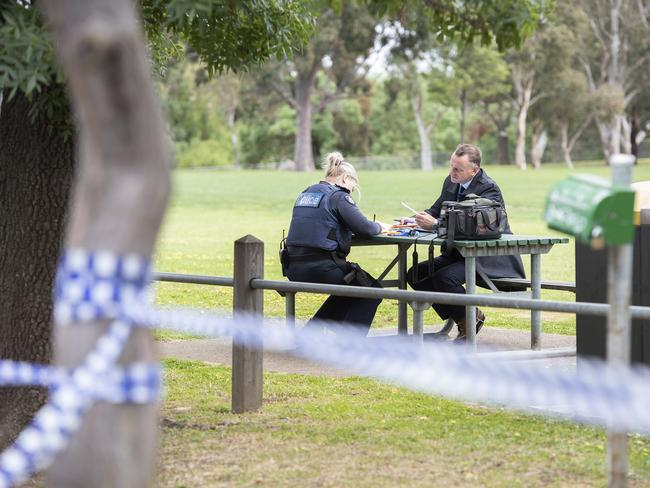 Police work at Mayer Park in Thornbury after a woman was allegedly raped. Picture: Ellen Smith/AAP